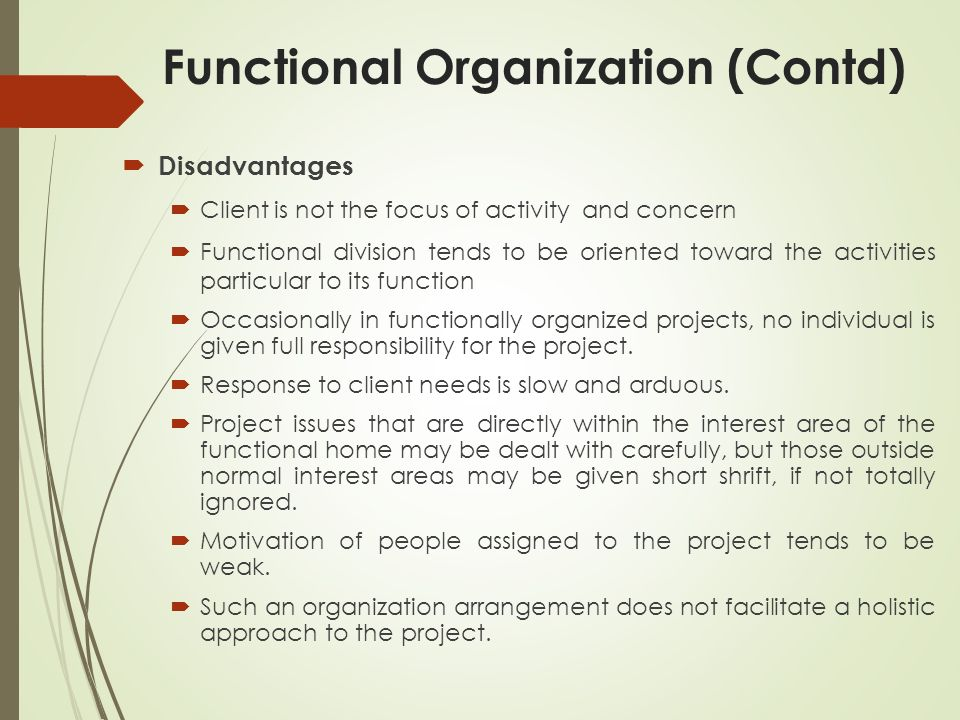 Functional Organization (Contd)  Disadvantages  Client is not the focus of activity and concern  Functional division tends to be oriented toward the activities particular to its function  Occasionally in functionally organized projects, no individual is given full responsibility for the project.