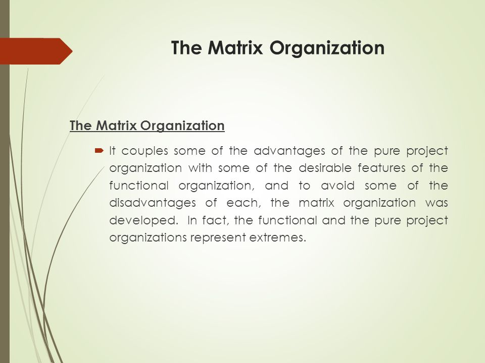 The Matrix Organization  It couples some of the advantages of the pure project organization with some of the desirable features of the functional organization, and to avoid some of the disadvantages of each, the matrix organization was developed.