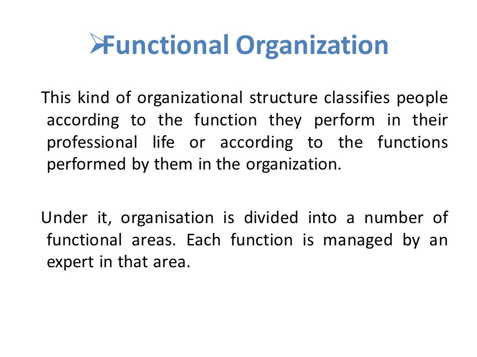  Functional Organization This kind of organizational structure classifies people according to the function they perform in their professional life or