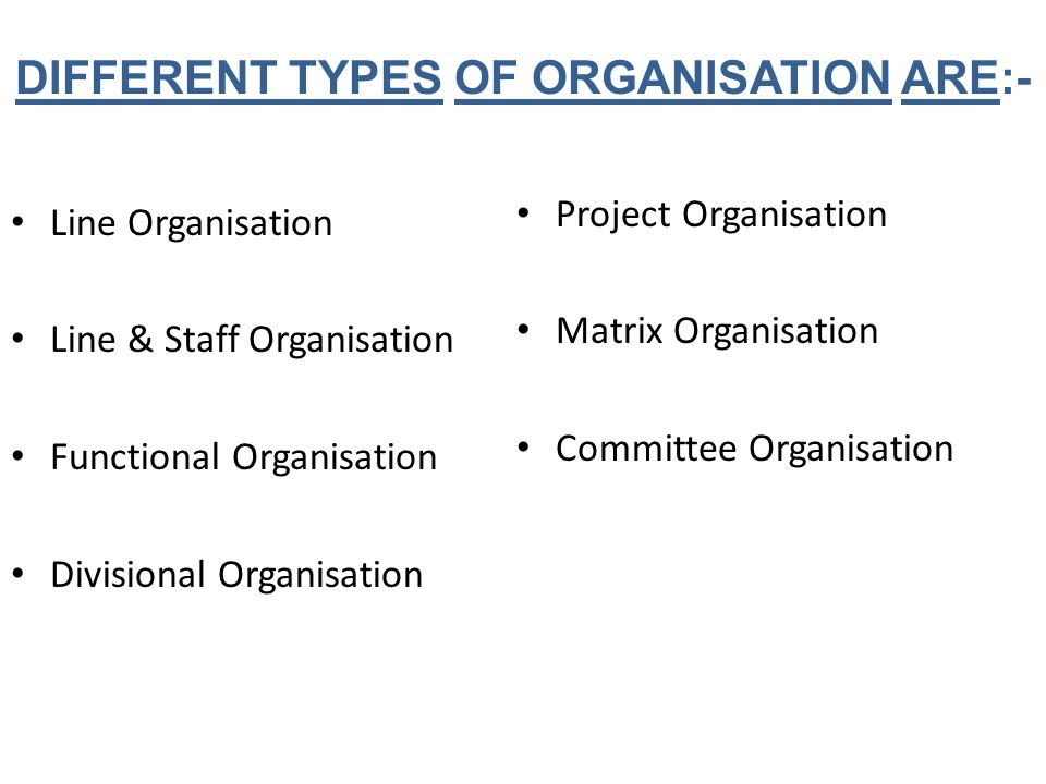 DIFFERENT TYPES OF ORGANISATION ARE:- Line Organisation Line & Staff Organisation Functional Organisation Divisional Organisation Project Organisation