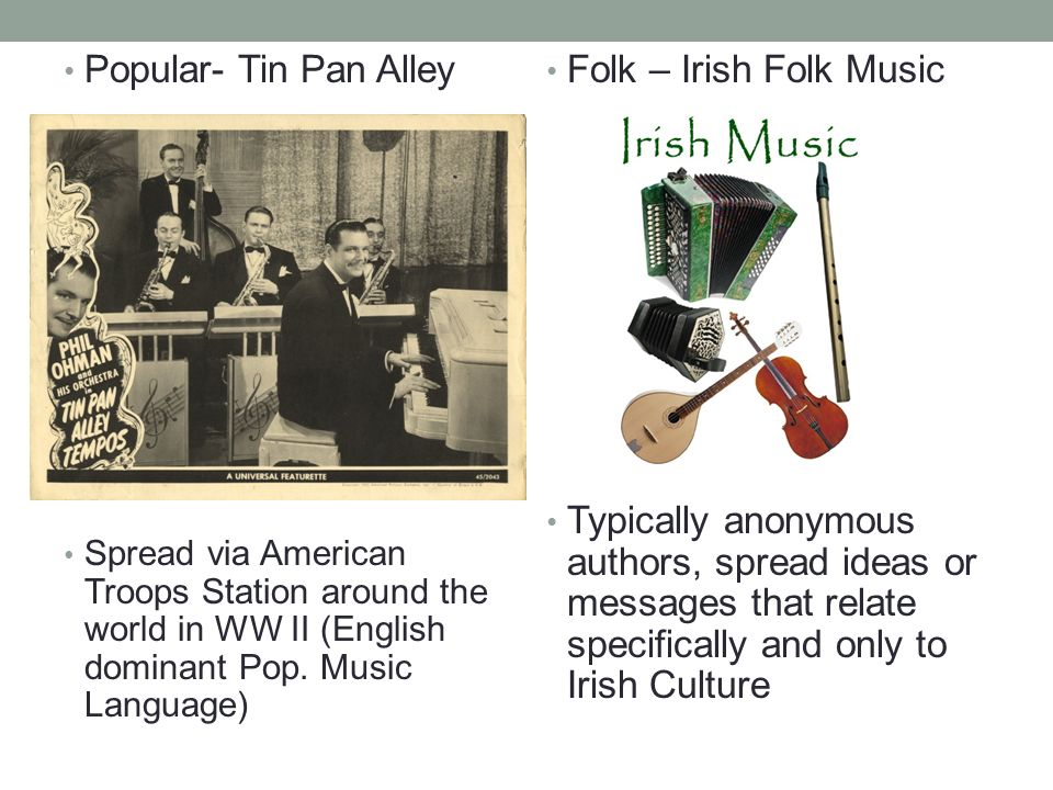 Popular- Tin Pan Alley Spread via American Troops Station around the world in WW II (English dominant Pop.