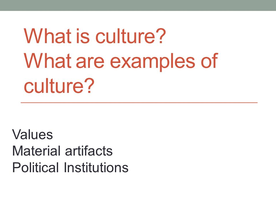 What is culture What are examples of culture Values Material artifacts Political Institutions