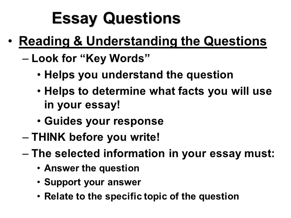 university essay questions Exam essay questions require an answer that can vary from several paragraphs to several pages how much you can write will depend on the marks available for the question, and the time available remember, though, that it is the quality, and not just the quantity, of the answer that counts in marks.