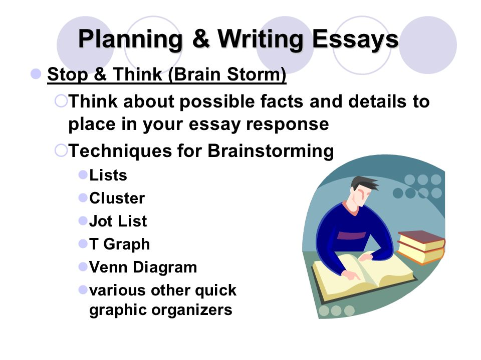Planning & Writing Essays Stop & Think (Brain Storm)  Think about possible facts and details to place in your essay response  Techniques for Brainstorming Lists Cluster Jot List T Graph Venn Diagram various other quick graphic organizers