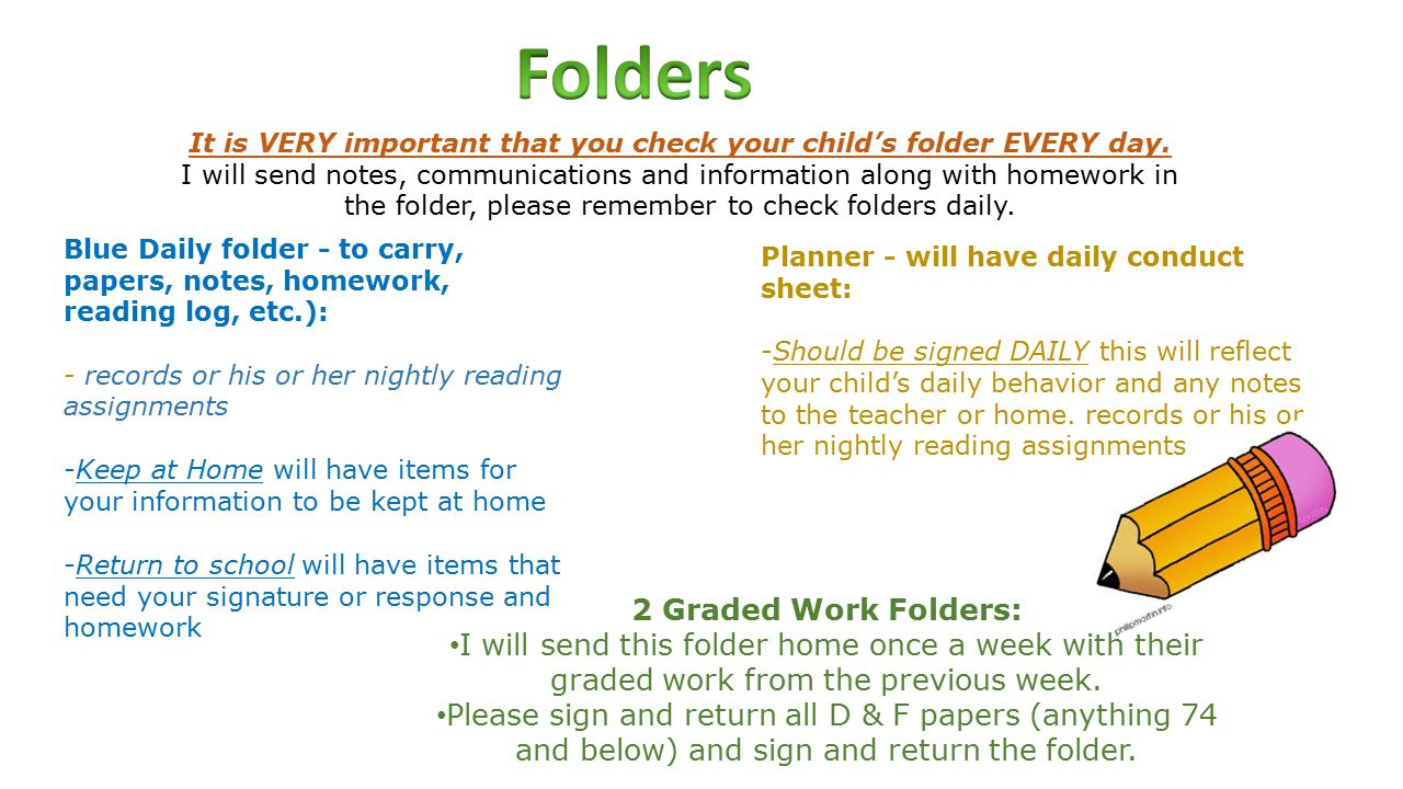 2 nd Grade. 2 Graded Work Folders: I will send this folder home once ...