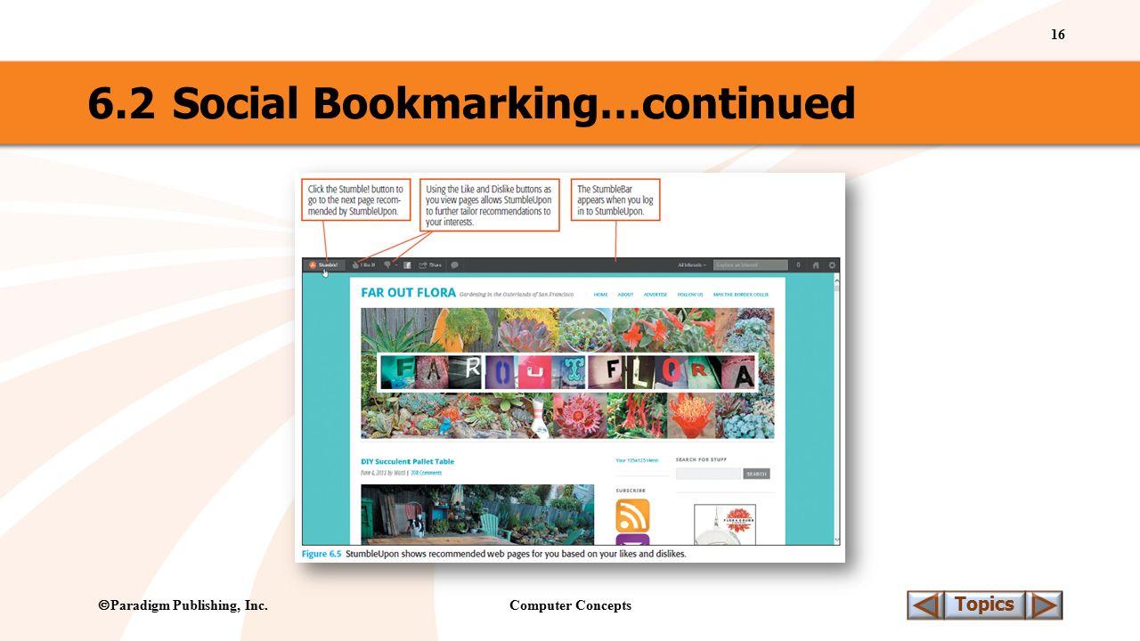 Computer Concepts 16 Topics  Paradigm Publishing, Inc. 6.2Social Bookmarking…continued
