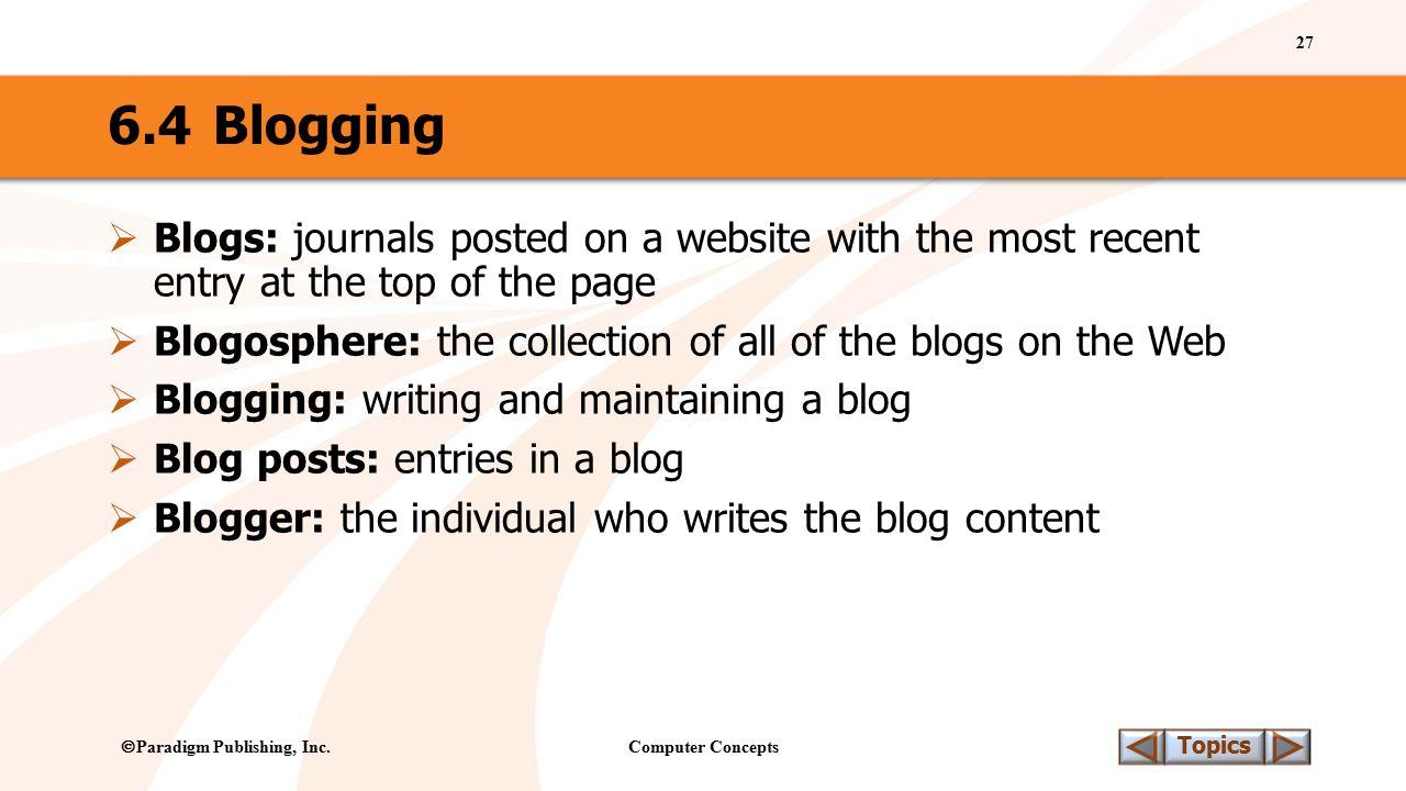 Computer Concepts 27 Topics  Paradigm Publishing, Inc.