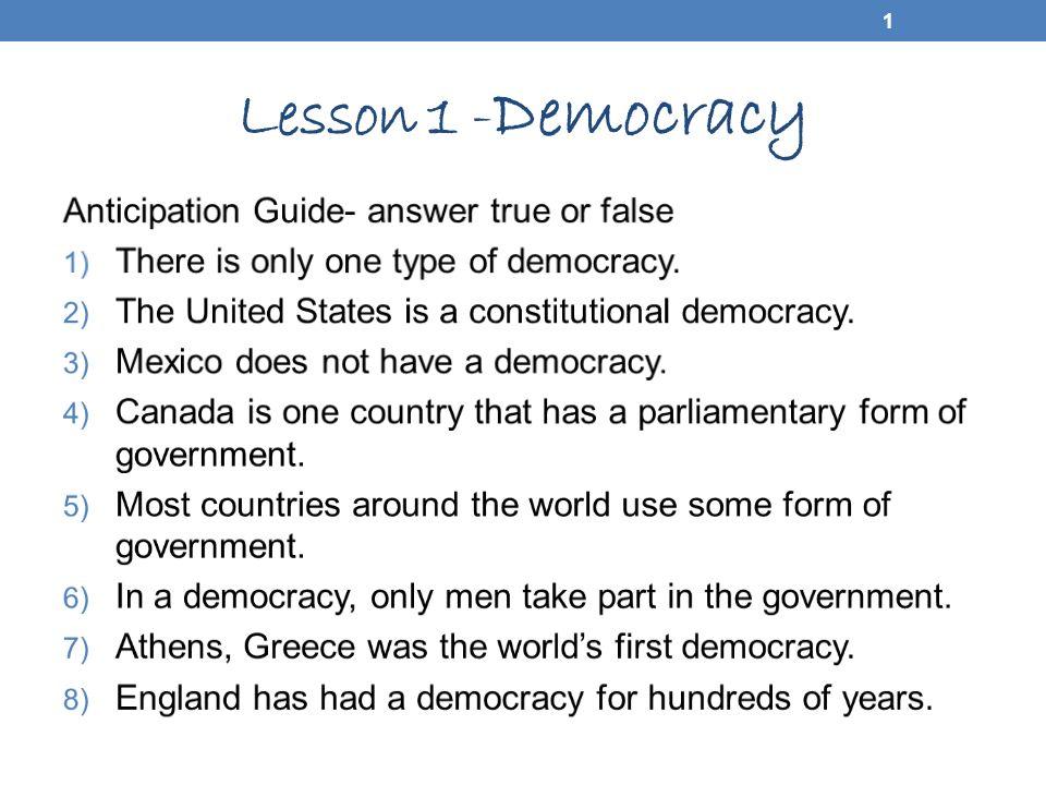 Lesson 1 - Democracy 1 2 Lesson Vocabulary Democracy Direct ...