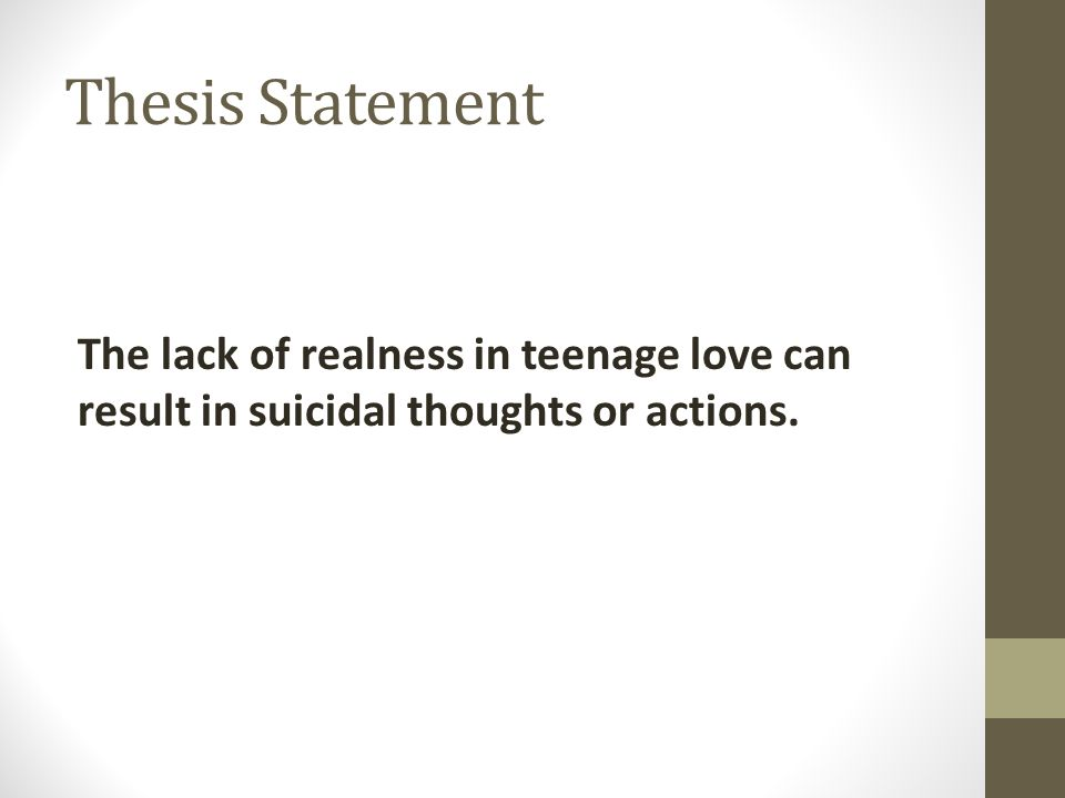 thesis statement of suicide Euthanasia thesis statement euthanasia, also mercy killing, is the practice of ending a life so as to release an individual from an incurable disease or intolerable.