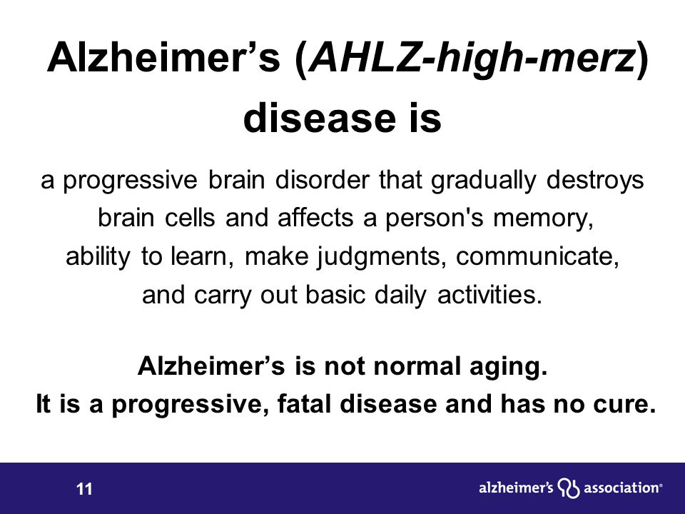 disease is a progressive brain disorder that leads to a gradual and irreversible decline in cognitiv Disease is an irreversible, progressive brain disorder alzheimer disease research center the risk of cognitive decline and alzheimer's disease.