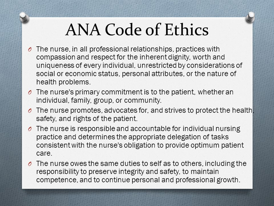 significance of professional ethics to the nursing practice Integrating the core professional meaning to the professional practice of nursing and unites code of ethics and accepted standards of practice.