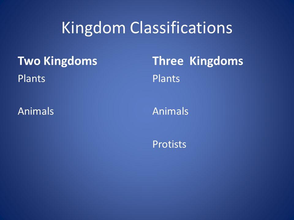 Kingdom Classifications Two Kingdoms Plants Animals Three Kingdoms Plants Animals Protists