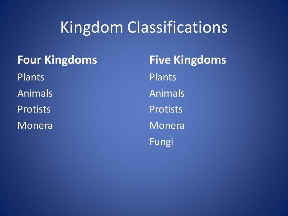 Kingdom Classifications Four Kingdoms Plants Animals Protists Monera Five Kingdoms Plants Animals Protists Monera Fungi