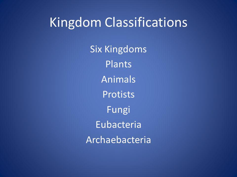 Kingdom Classifications Six Kingdoms Plants Animals Protists Fungi Eubacteria Archaebacteria