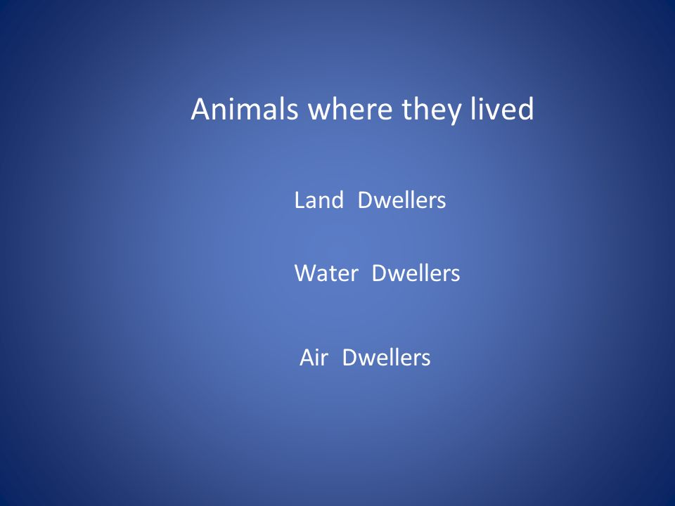 Animals where they lived Land Dwellers Water Dwellers Air Dwellers
