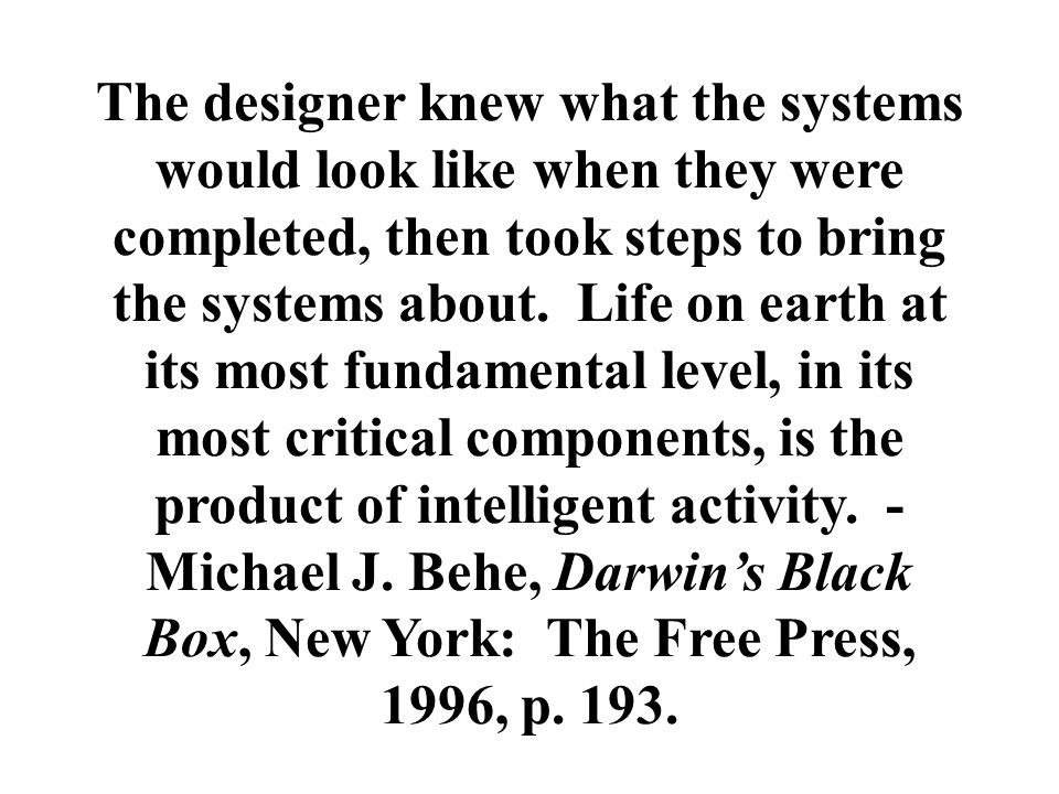 The designer knew what the systems would look like when they were completed, then took steps to bring the systems about. Life on earth at its most fun