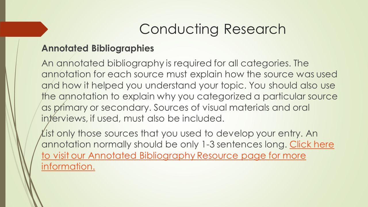 An annotated bibliography is required for all categories SlidePlayer