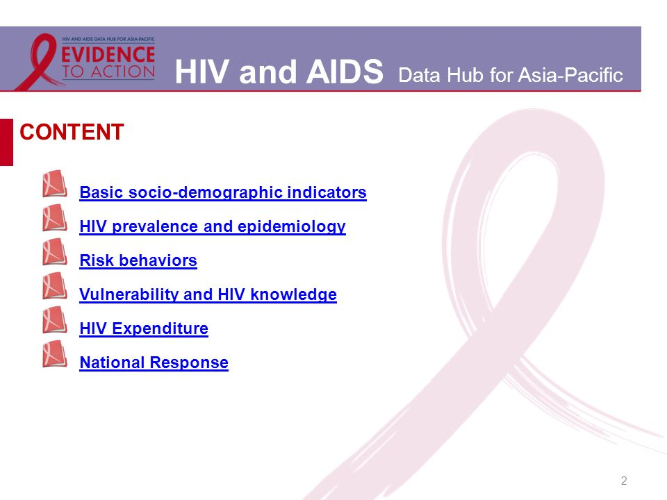 HIV and AIDS Data Hub for Asia-Pacific 2 Basic socio-demographic indicators HIV prevalence and epidemiology Risk behaviors Vulnerability and HIV knowledge HIV Expenditure National Response CONTENT