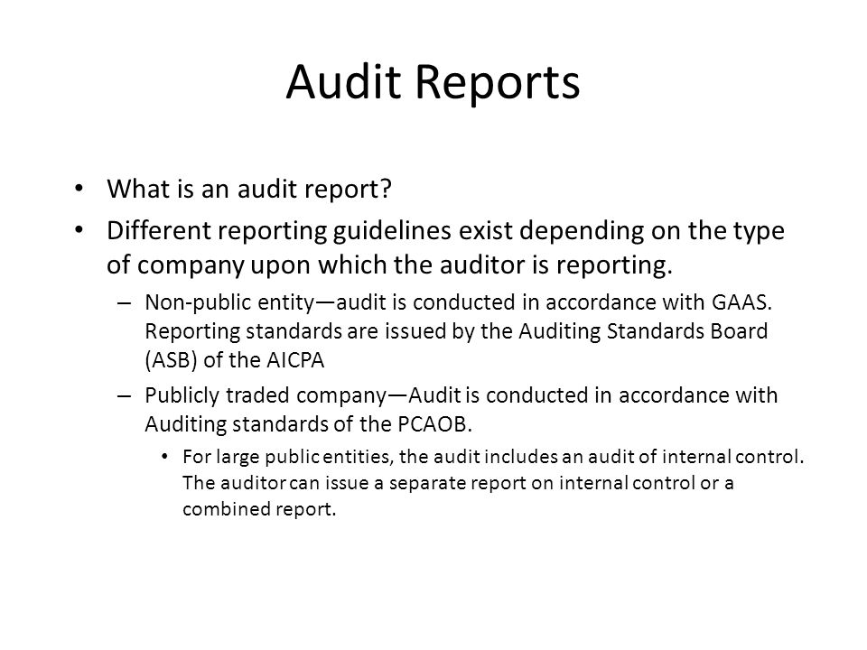 Audit Reports Chapter  Audit Reports What Is An Audit Report