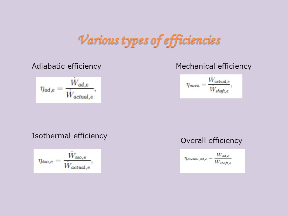 Various types of efficiencies Adiabatic efficiency Isothermal efficiency Mechanical efficiency Overall efficiency