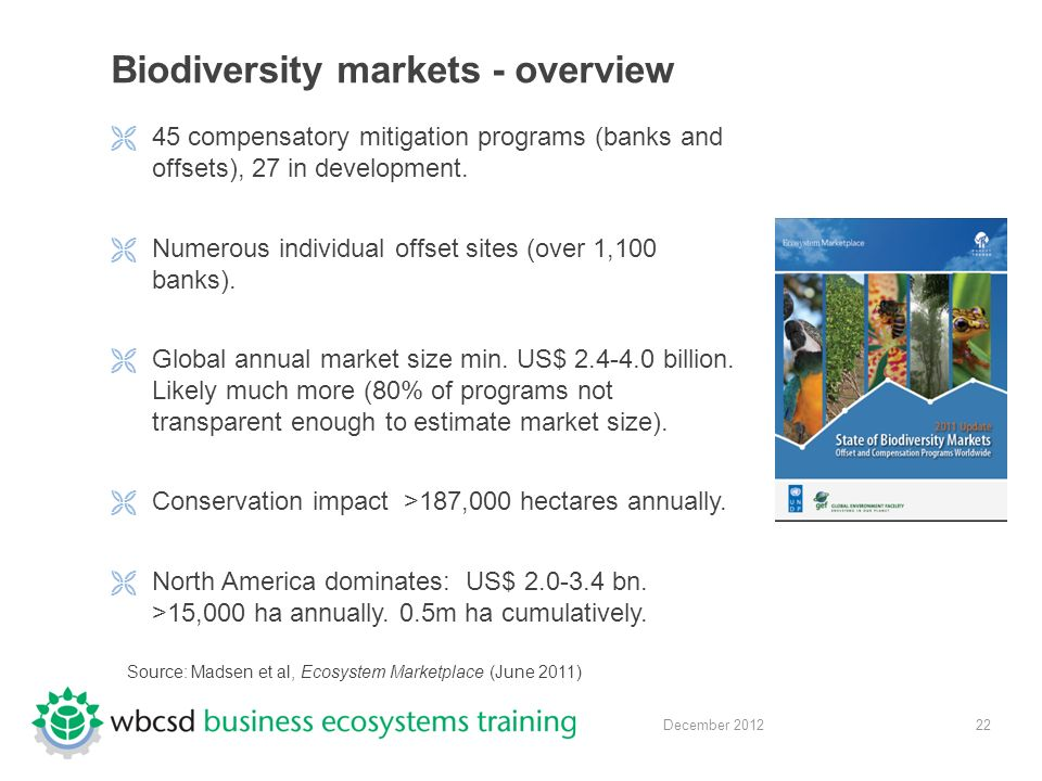 22 December 2012 Biodiversity markets - overview  45 compensatory mitigation programs (banks and offsets), 27 in development.