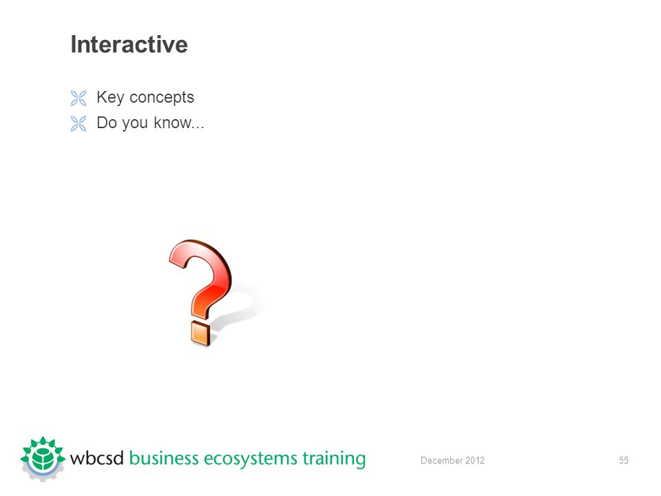 55 December 2012 Interactive  Key concepts  Do you know...