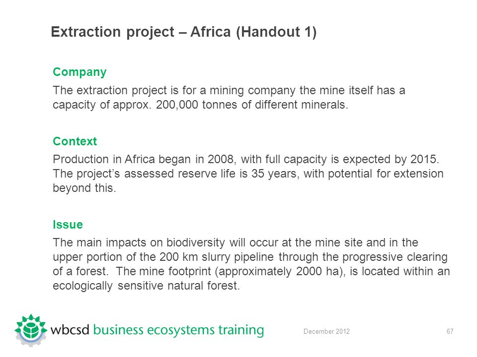 67 December 2012 Extraction project – Africa (Handout 1) Company The extraction project is for a mining company the mine itself has a capacity of approx.