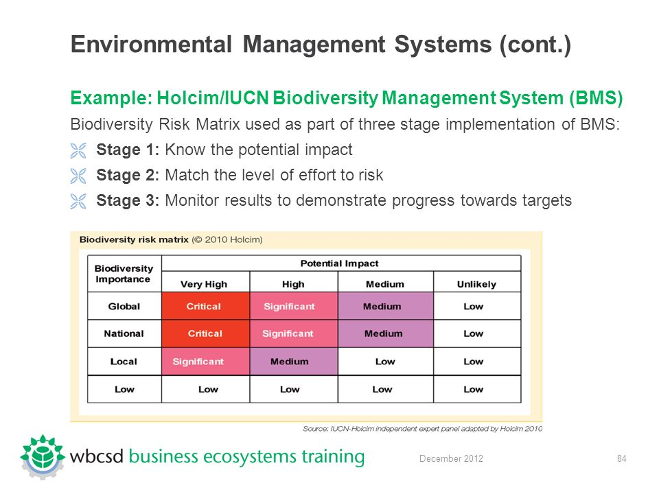 84 December 2012 Environmental Management Systems (cont.) Example: Holcim/IUCN Biodiversity Management System (BMS) Biodiversity Risk Matrix used as part of three stage implementation of BMS:  Stage 1: Know the potential impact  Stage 2: Match the level of effort to risk  Stage 3: Monitor results to demonstrate progress towards targets