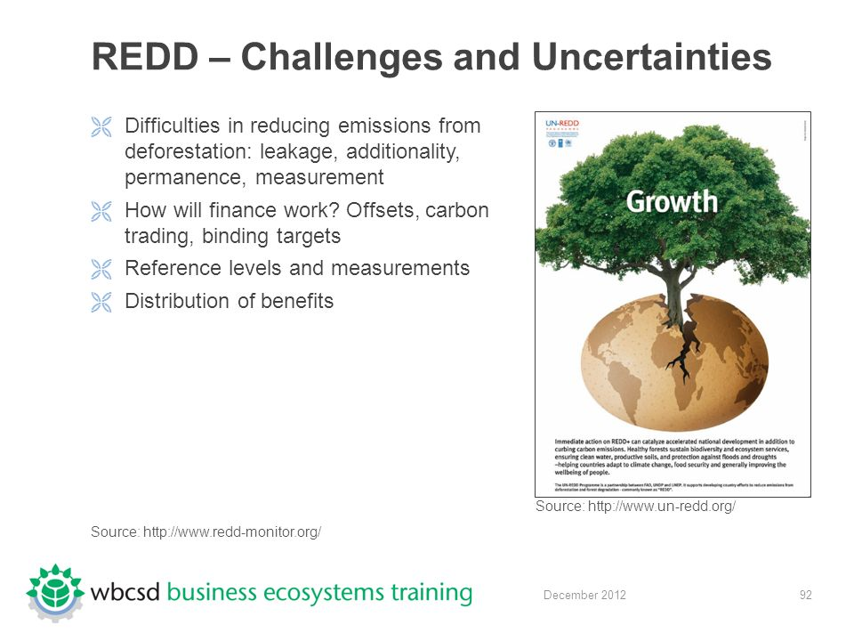 92 December 2012 REDD – Challenges and Uncertainties  Difficulties in reducing emissions from deforestation: leakage, additionality, permanence, measurement  How will finance work.