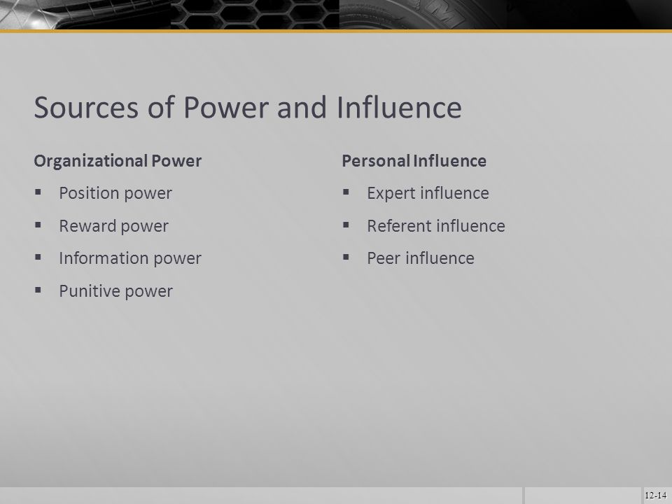 12-14 Sources of Power and Influence Organizational Power  Position power  Reward power  Information power  Punitive power Personal Influence  Expert influence  Referent influence  Peer influence