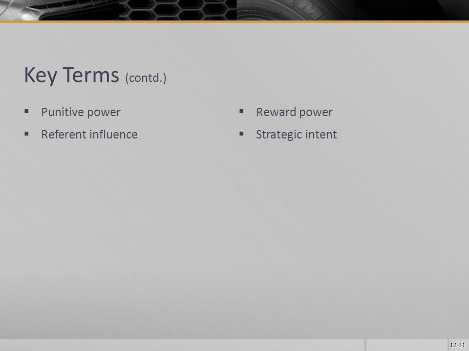 12-31 Key Terms (contd.)  Punitive power  Referent influence  Reward power  Strategic intent