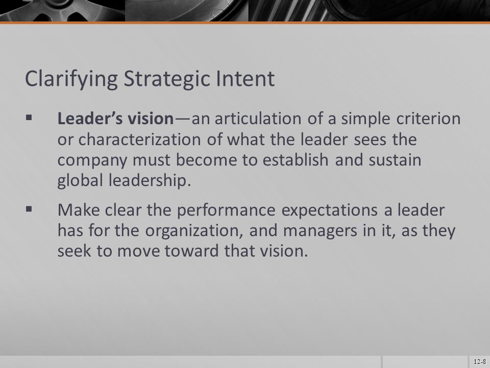 12-9 Leadership Development  The effort to familiarize future leaders with the skills important to the company and to develop exceptional leaders among the managers employed.