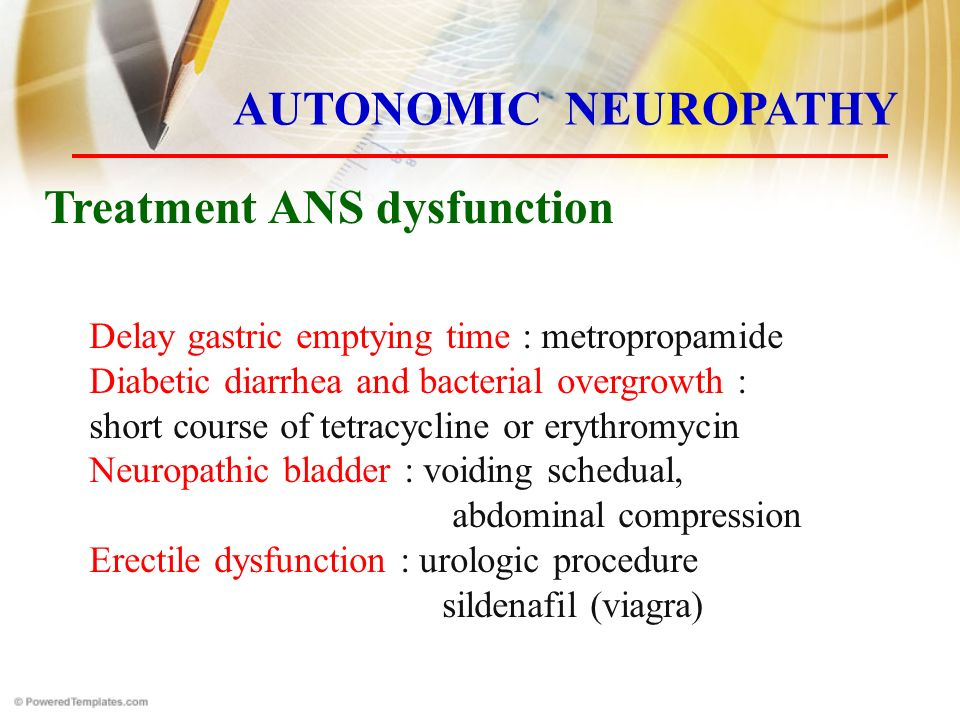 Delay gastric emptying time : metropropamide Diabetic diarrhea and bacterial overgrowth : short course of tetracycline or erythromycin Neuropathic bladder : voiding schedual, abdominal compression Erectile dysfunction : urologic procedure sildenafil (viagra) Treatment ANS dysfunction AUTONOMIC NEUROPATHY