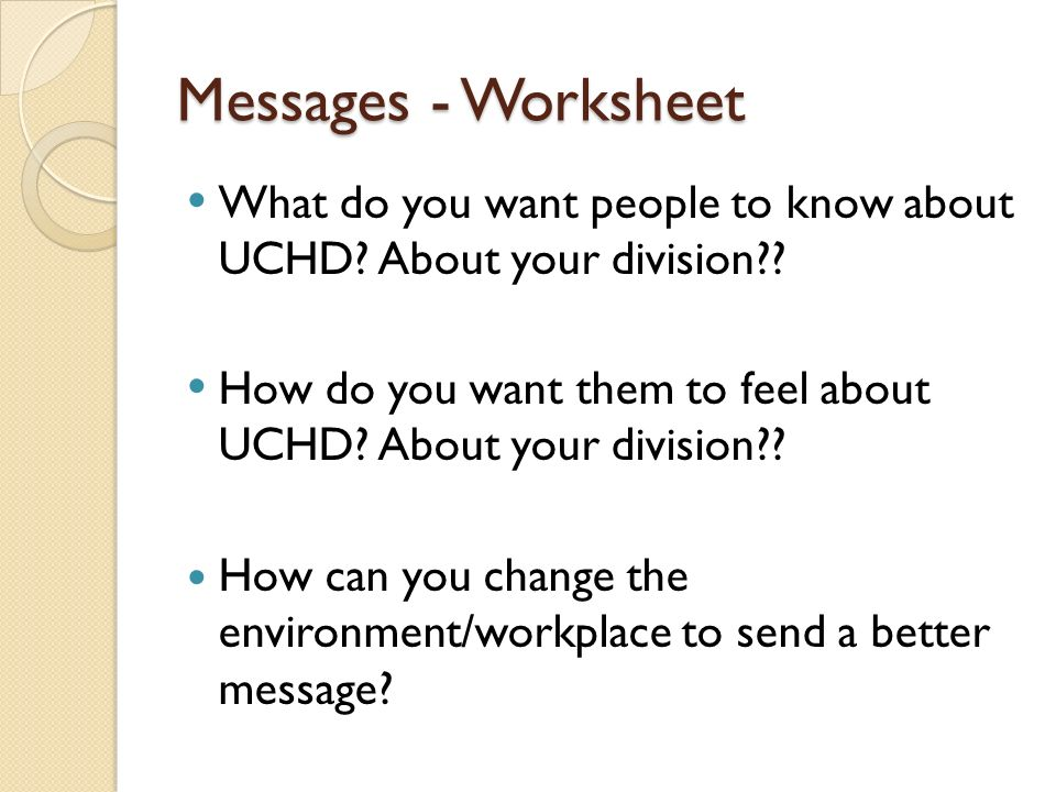 Union County Health Department Customer Service Training ppt – I Messages Worksheet