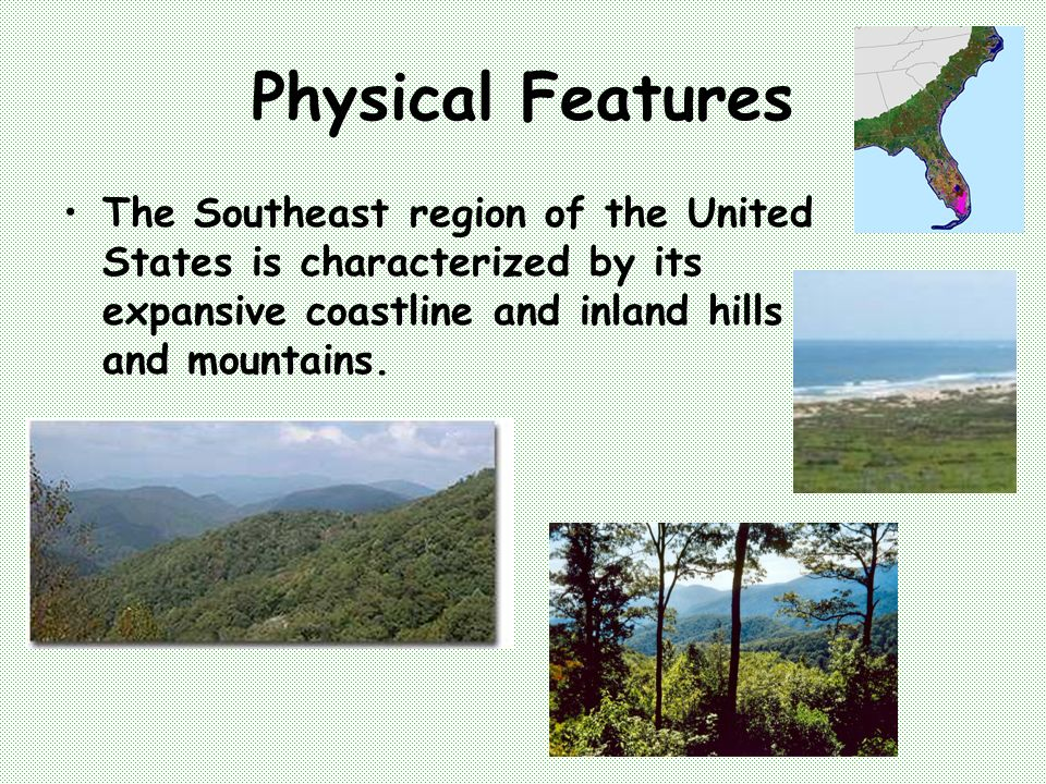 The Southeast Region Of The United States Created By Mrs Janinne - Physical characteristics of the united states