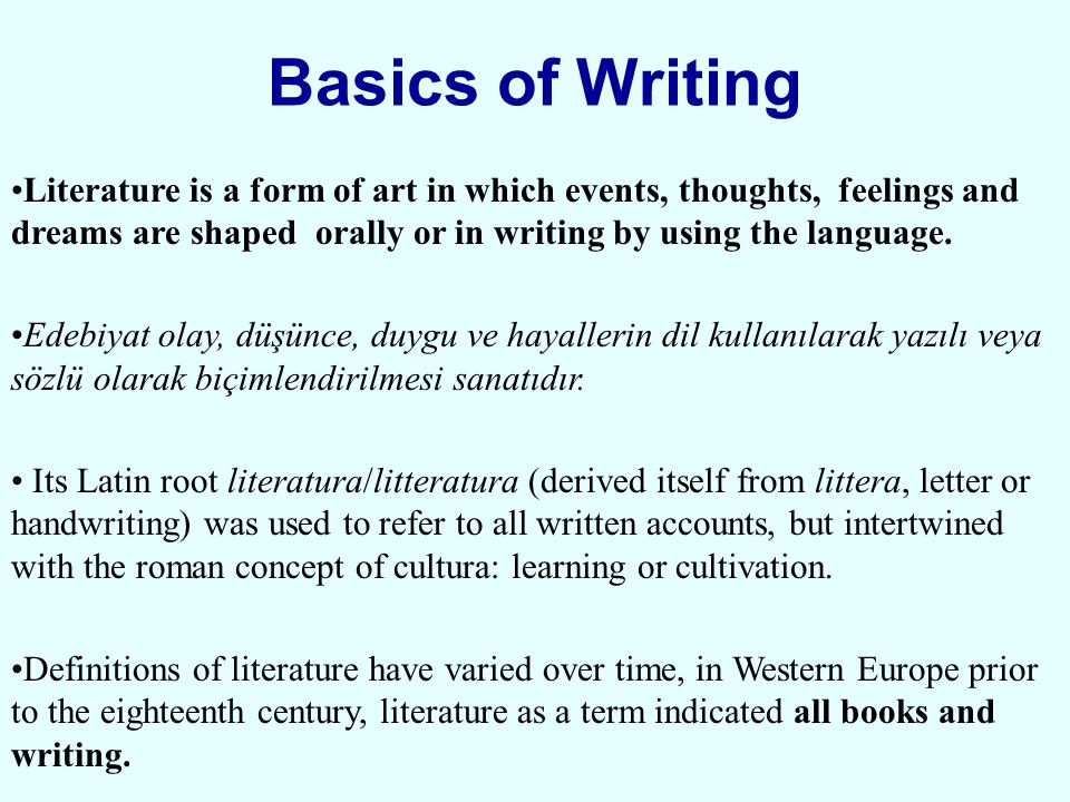 basics of writing From the early formation of letters to crafting an essay, writing involves perhaps more subskills than any other academic task to write well requires combining multiple physical and mental processes in one concerted effort to convey information and ideas we must, for instance, be able to move a.