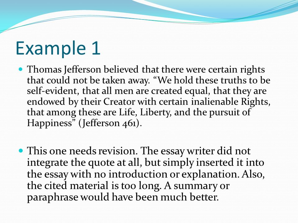 what is a quotation a reference to a work that is not your own a  8 example