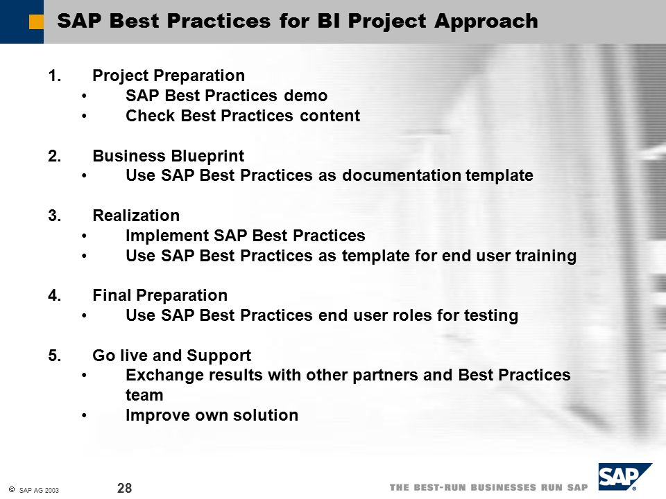 Sap best practices for business intelligence sap ag contents 28 malvernweather Gallery