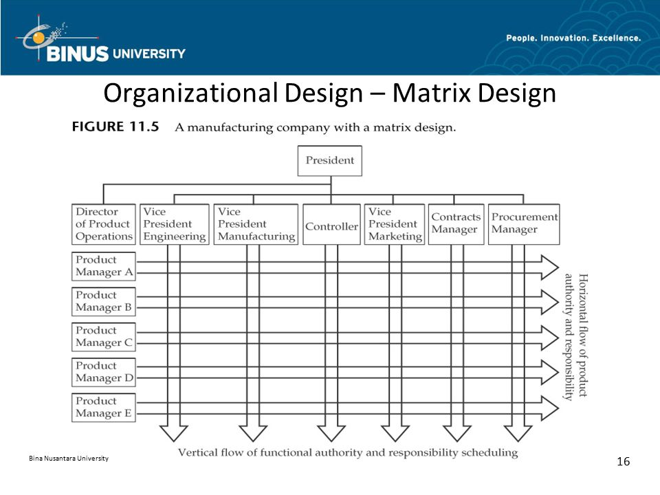 Organizational Design – Matrix Design Bina Nusantara University 16