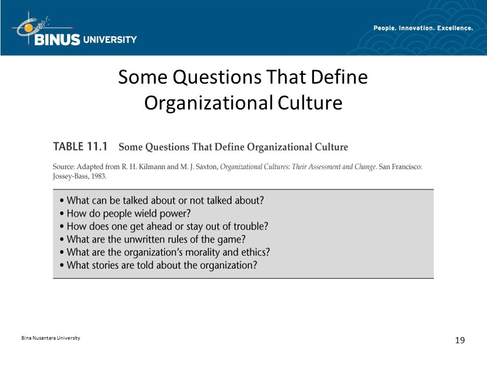 Some Questions That Define Organizational Culture Bina Nusantara University 19