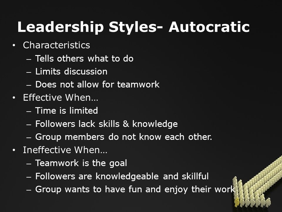 Leadership Styles- Autocratic Characteristics – Tells others what to do – Limits discussion – Does not allow for teamwork Effective When… – Time is limited – Followers lack skills & knowledge – Group members do not know each other.