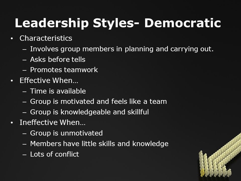 Leadership Styles- Democratic Characteristics – Involves group members in planning and carrying out.