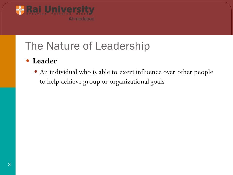 The Nature of Leadership 4 Personal Leadership Style The specific ways in which a manager chooses to influence others shapes the way that manager approaches the other principal tasks of management.