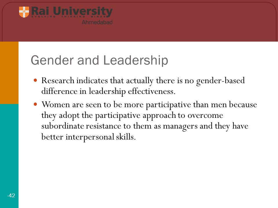 Gender and Leadership -42 Research indicates that actually there is no gender-based difference in leadership effectiveness.