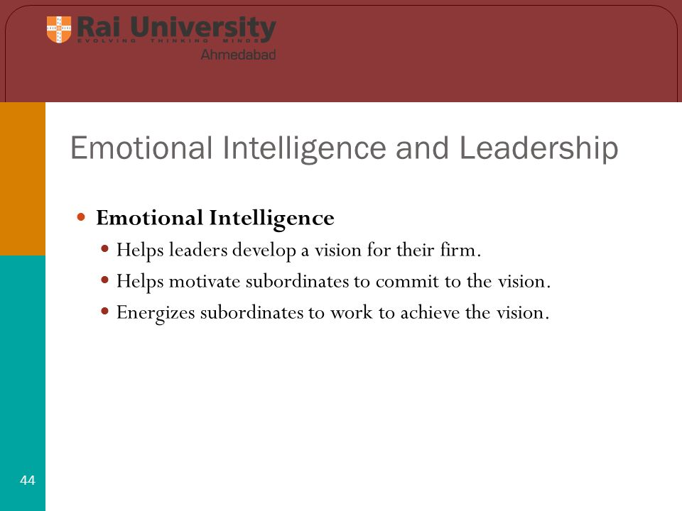 Emotional Intelligence and Leadership 44 Emotional Intelligence Helps leaders develop a vision for their firm.