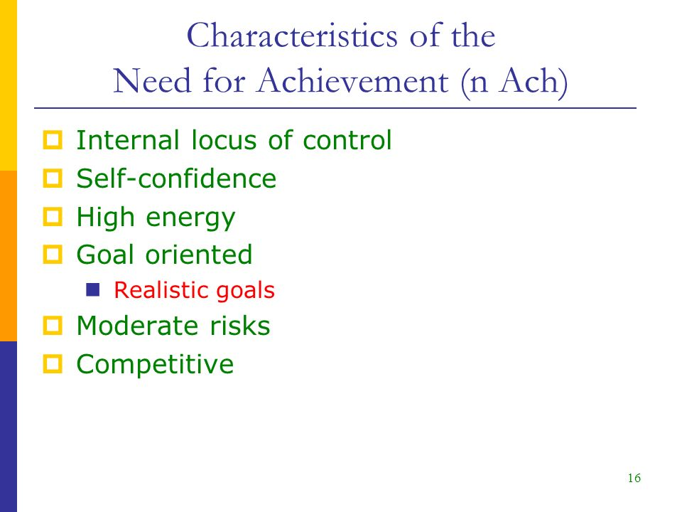 16  Internal locus of control  Self-confidence  High energy  Goal oriented Realistic goals  Moderate risks  Competitive Characteristics of the Need for Achievement (n Ach)