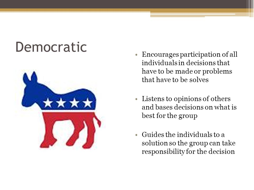 Democratic Encourages participation of all individuals in decisions that have to be made or problems that have to be solves Listens to opinions of others and bases decisions on what is best for the group Guides the individuals to a solution so the group can take responsibility for the decision