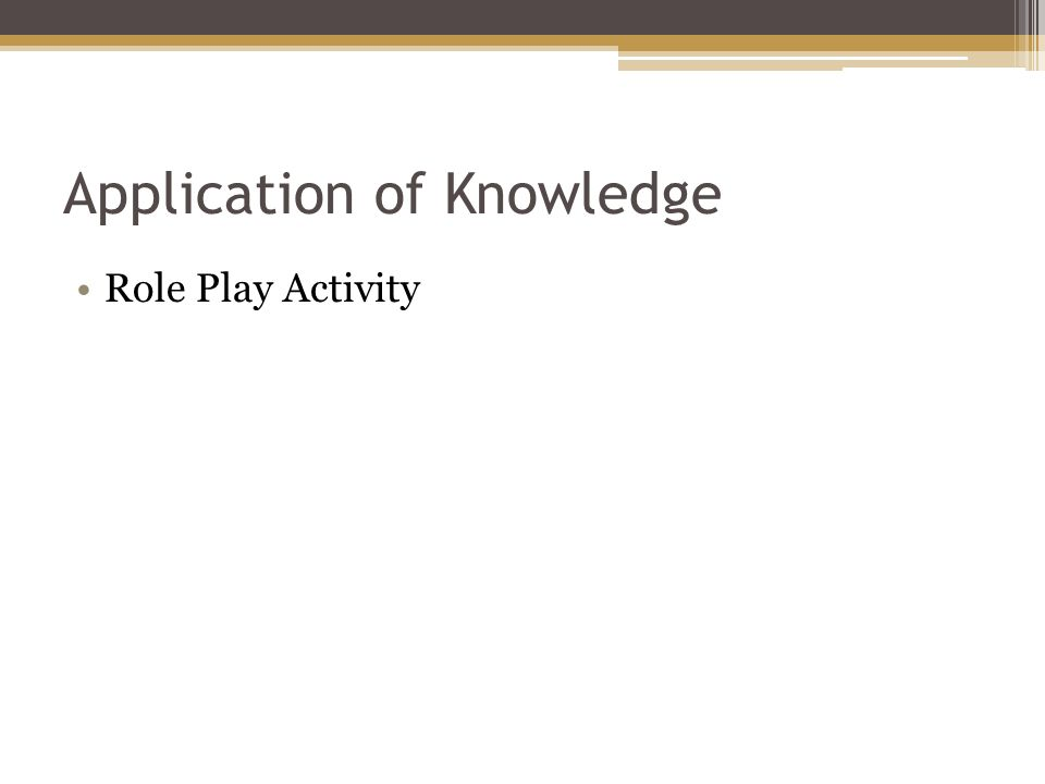 Application of Knowledge Role Play Activity