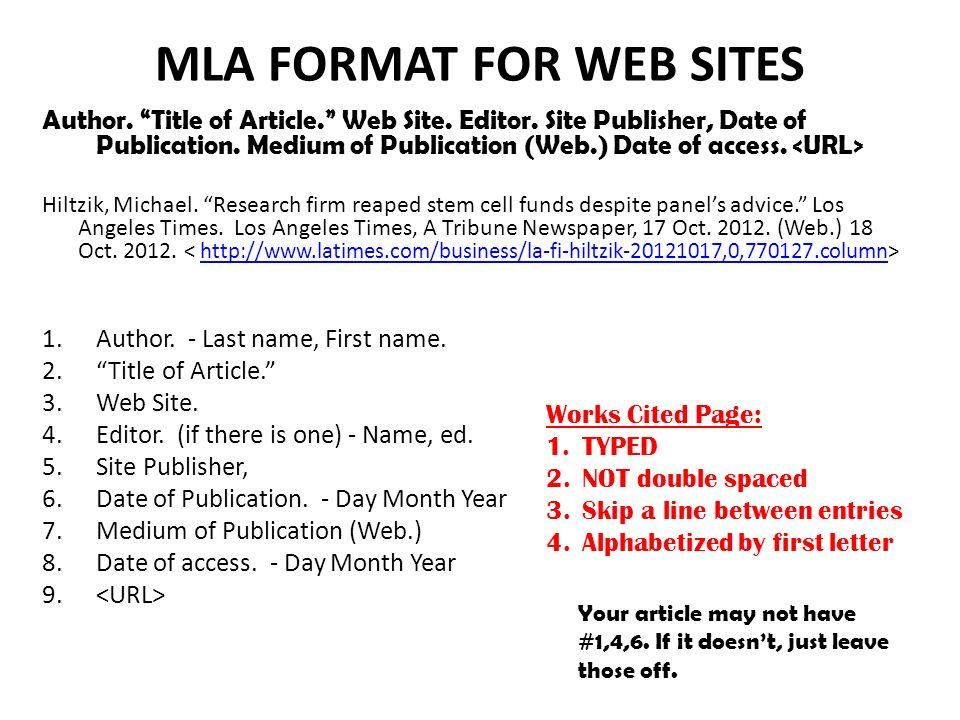 mla format article