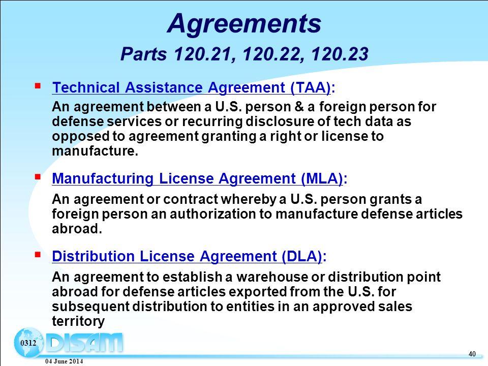 04 june technology transfer export controls ppt download 04 june 2014 40 0312 agreements parts 12021 12022 12023 technical assistance agreement platinumwayz
